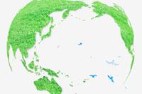 地球の芝生と鳥