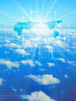 世界地図と青空と雲