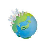 地球と町並み 07800015418| 写真素材・ストックフォト・画像・イラスト素材|アマナイメージズ