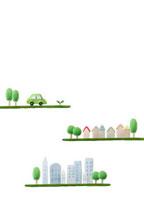 エコカーと町並み 07800015437| 写真素材・ストックフォト・画像・イラスト素材|アマナイメージズ