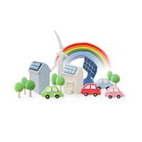 エコカーと太陽光発電と風力発電 07800016647| 写真素材・ストックフォト・画像・イラスト素材|アマナイメージズ