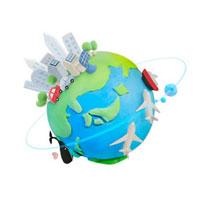 色々な乗り物と地球 07800016648| 写真素材・ストックフォト・画像・イラスト素材|アマナイメージズ