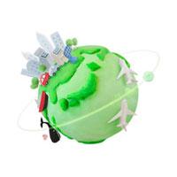 色々な乗り物と地球 07800016649| 写真素材・ストックフォト・画像・イラスト素材|アマナイメージズ
