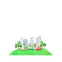 緑のある都会を走るエコカー 07800016656| 写真素材・ストックフォト・画像・イラスト素材|アマナイメージズ