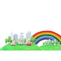 緑のある都会を走るエコカーと虹