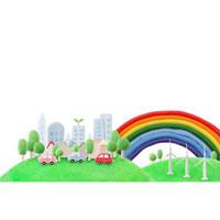 緑のある都会を走るエコカーと風車