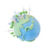 太陽光発電と風力発電と地球 07800016659| 写真素材・ストックフォト・画像・イラスト素材|アマナイメージズ
