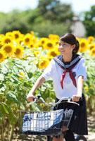 自転車に乗っている女子学生とヒマワリ畑