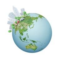 地球と都会 07800022104| 写真素材・ストックフォト・画像・イラスト素材|アマナイメージズ