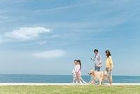 海岸を歩く家族と犬