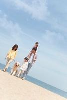砂浜を歩く犬と家族