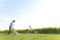 芝生で遊んでいる4人家族と犬