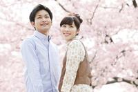 桜と笑顔のカップル