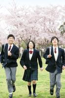 桜と走る男女学生3人