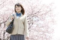 桜と笑顔の女子高生