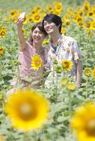 ひまわり畑で記念撮影するカップル