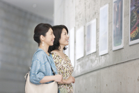 写真を鑑賞する中高年女性2人