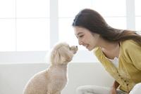 笑顔の女性と犬 07800054387| 写真素材・ストックフォト・画像・イラスト素材|アマナイメージズ