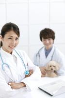 犬と笑顔の獣医 07800054640| 写真素材・ストックフォト・画像・イラスト素材|アマナイメージズ