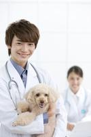 犬と笑顔の獣医 07800054641| 写真素材・ストックフォト・画像・イラスト素材|アマナイメージズ