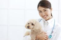 犬を抱える獣医 07800054654| 写真素材・ストックフォト・画像・イラスト素材|アマナイメージズ