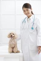 犬と笑顔の獣医 07800054655| 写真素材・ストックフォト・画像・イラスト素材|アマナイメージズ