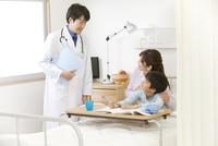 診察をする医師と患者と母親