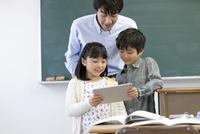 タブレットPCを見る生徒と先生
