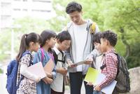 課外学習中の小学生と先生 07800058526| 写真素材・ストックフォト・画像・イラスト素材|アマナイメージズ