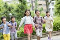 登下校中の小学生5人 07800058564| 写真素材・ストックフォト・画像・イラスト素材|アマナイメージズ