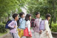 登下校中の小学生5人 07800058566| 写真素材・ストックフォト・画像・イラスト素材|アマナイメージズ