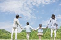 手を繋ぐ4人家族の後ろ姿 07800058693| 写真素材・ストックフォト・画像・イラスト素材|アマナイメージズ