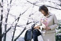 桜と親子 07900000042| 写真素材・ストックフォト・画像・イラスト素材|アマナイメージズ