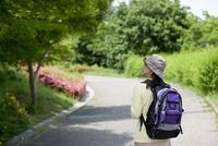 ハイキングをする中高年女性