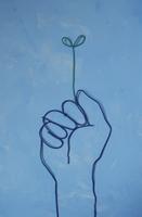 ワイヤーで作った双葉を持つ手