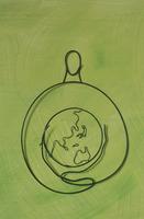 ワイヤーで作った地球を抱える人