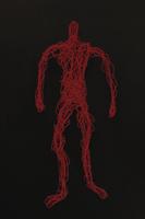 ワイヤーで作った人(血のイメージ)