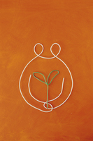ワイヤーで作った双葉を持つ人 09501011214| 写真素材・ストックフォト・画像・イラスト素材|アマナイメージズ