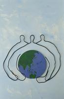 ワイヤーで作った地球を持つ人 09501011220| 写真素材・ストックフォト・画像・イラスト素材|アマナイメージズ