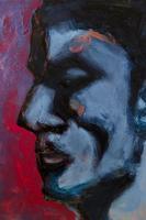 目をつむる男性の顔のイラスト