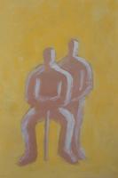 杖を持ち座って寄り添う2人の人物イメージ フォトイラスト 09501014081| 写真素材・ストックフォト・画像・イラスト素材|アマナイメージズ