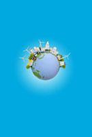 地球と太陽光発電の建物と風力発電