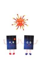 太陽光発電パネルのカップルと太陽