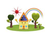 太陽光発電の家の子供 09522001050  写真素材・ストックフォト・画像・イラスト素材 アマナイメージズ