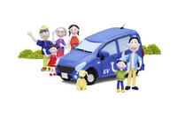 電気自動車と家族6人と犬