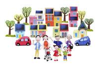 太陽光発電の街と家族7人と電気自動車とハートの木々