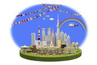 オリンピックを迎える東京の街並み 09522001275  写真素材・ストックフォト・画像・イラスト素材 アマナイメージズ