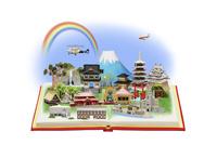 本から飛び出す日本の世界遺産をヘリコプターで観光する家族 09522001292| 写真素材・ストックフォト・画像・イラスト素材|アマナイメージズ