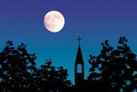 教会と月 10131000525| 写真素材・ストックフォト・画像・イラスト素材|アマナイメージズ