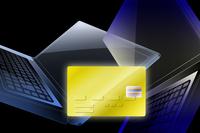 クレジットカードとノートパソコン